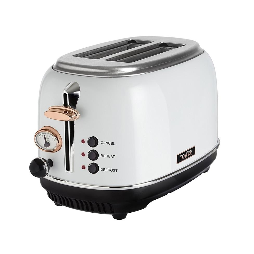 Tower 2 Slice White Toaster