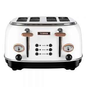 Tower 4 Slice White Toaster
