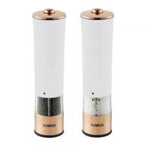 Tower Linear Electric Salt & Pepper Mill Rose Gold & White