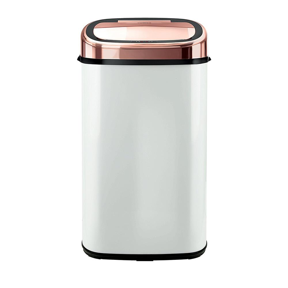 Tower 58L Square Sensor Bin Rose Gold & White