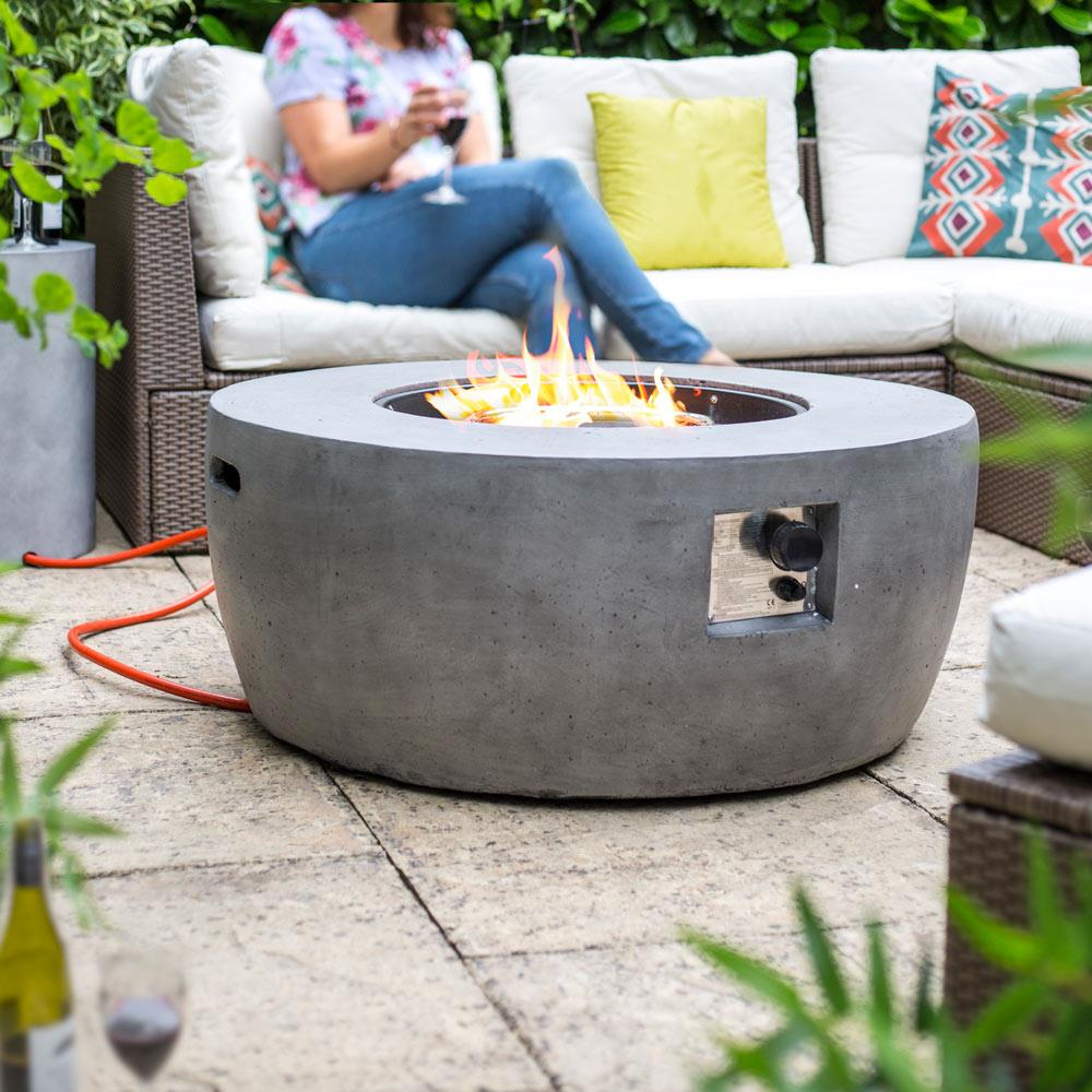 Malibu Round Smooth Cement Effect Gas Fire Pit