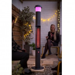 Black Series Standing Halogen Patio Heater With Music Player