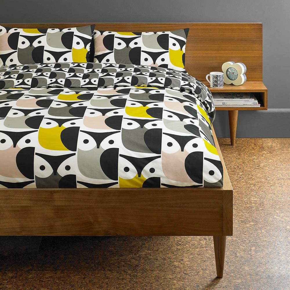 Orla Kiely Big Owl Duvet Cover Pink/Warm Grey