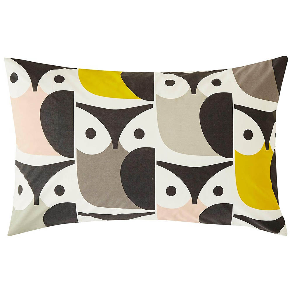 Orla Kiely Big Owl Housewife Pillowcase Pair Pink/Warm Grey