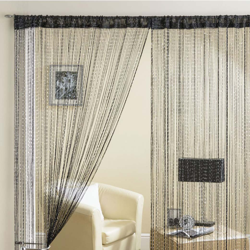 Glam Lurex String Panel Black 90x200cm