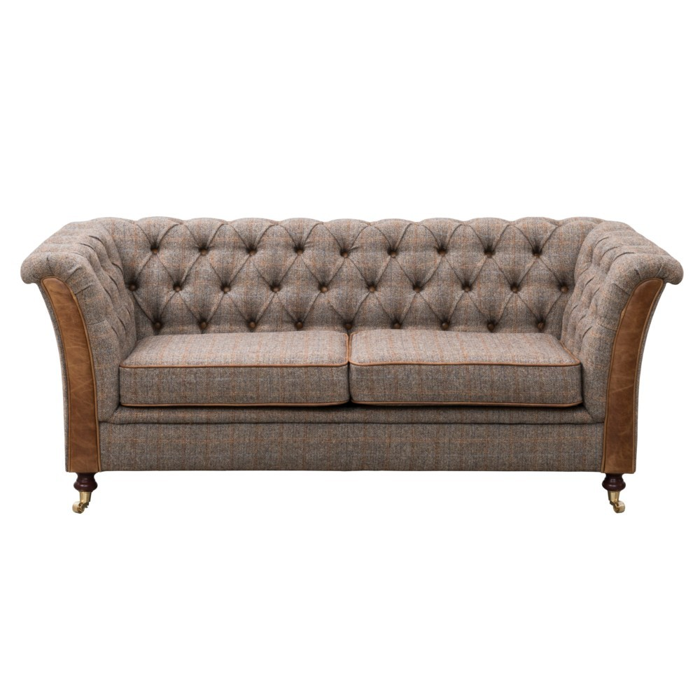 Julius 2 Seater Sofa in Heritage Fabric with Leather Trim