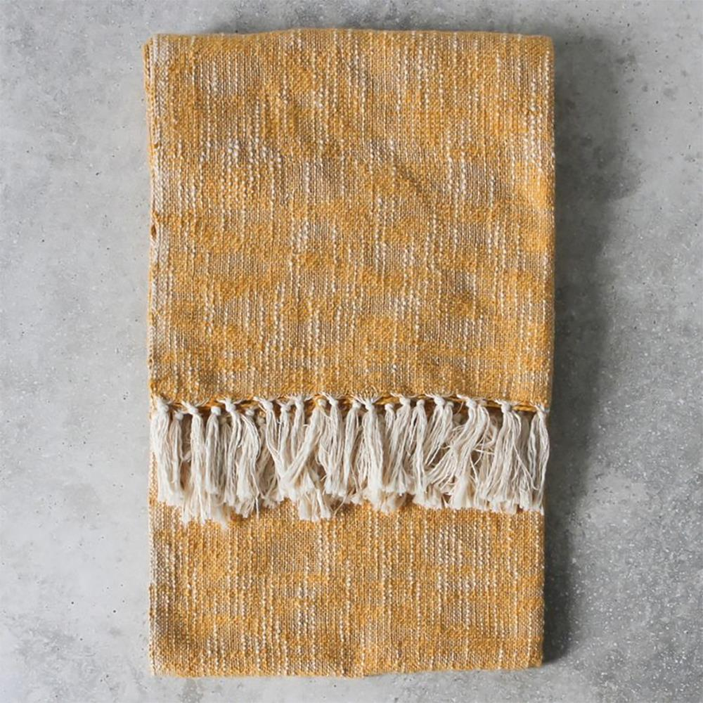 Surat Fringed Throw Ochre