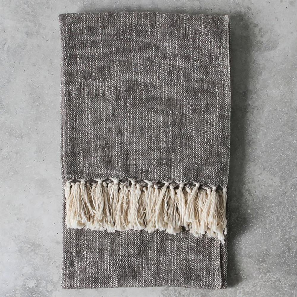 Surat Fringed Throw Grey