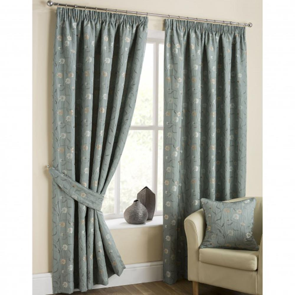 Isla Pencil Headed Curtains Duck Egg