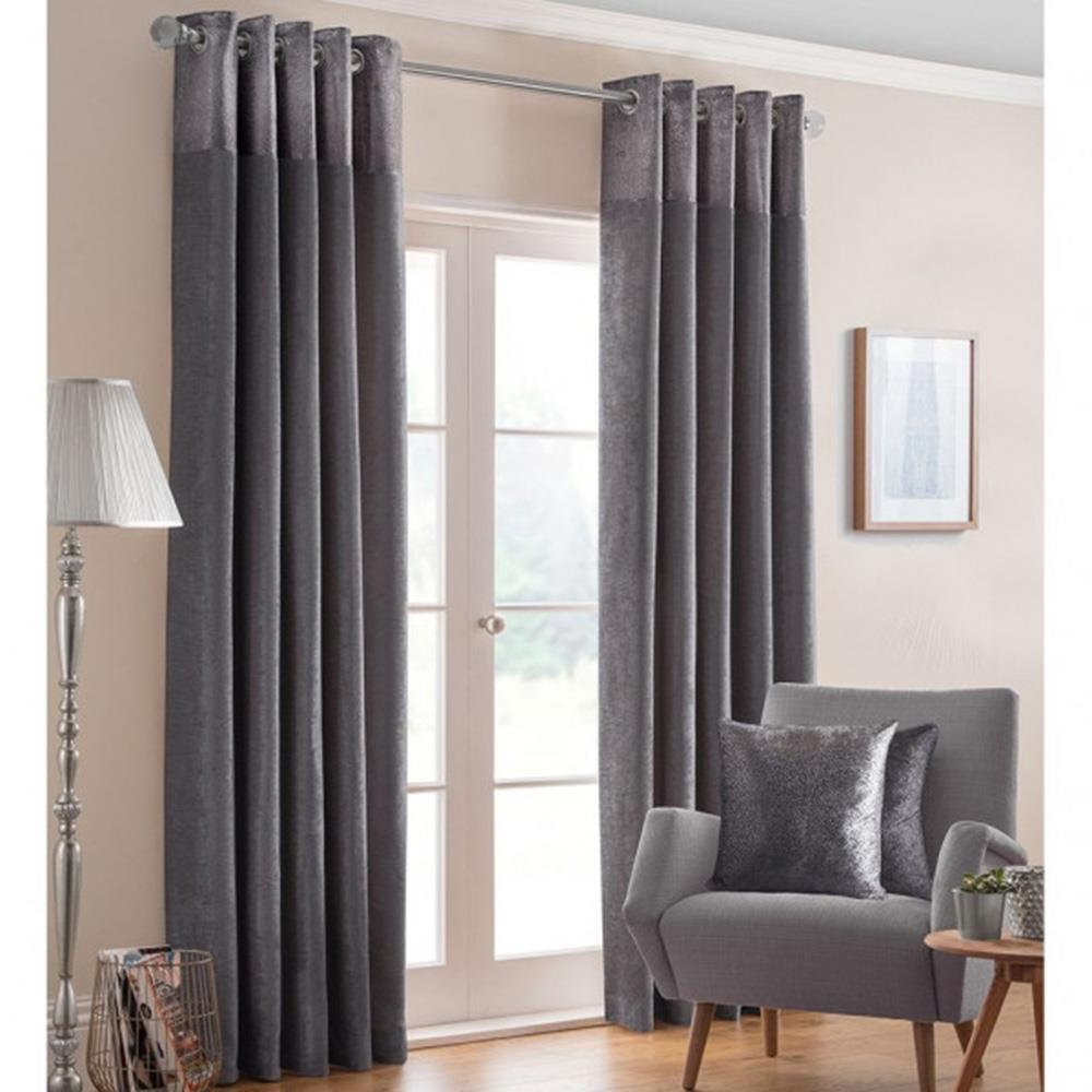 Nova Eyelet Headed Curtains Pewter