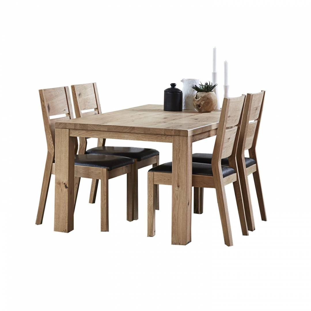Ferdinand 180cm Dining Table & 4 Brown PU Seat Dining Chairs