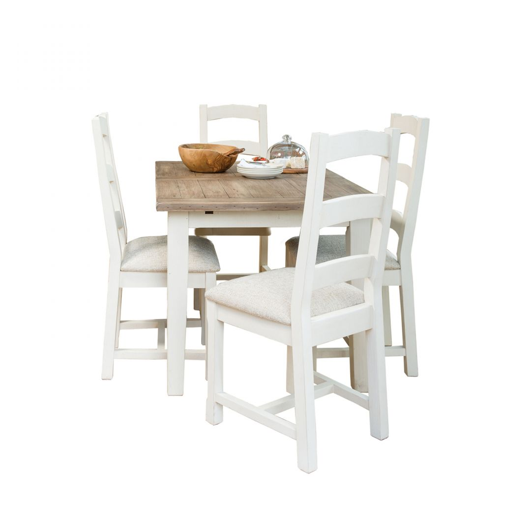 Cottingham 140cm Ext Dining Table & 4 Upholstered Seat Dining Chairs