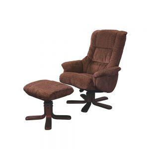 Langley Swivel Recliner Chair with FREE Footstool in Chocolate