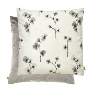Flower Feather Filled Cushion 50x50cm Silver