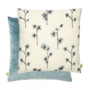 Flower Feather Filled Cushion 50x50cm Blue