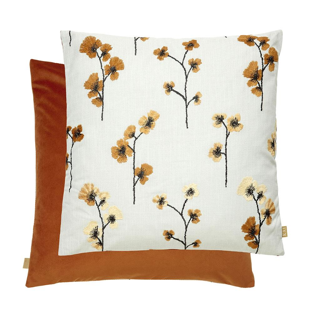 Flower Feather Filled Cushion 50x50cm Orange