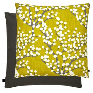 Blossom Feather Filled Cushion 50x50cm Grey & Yellow