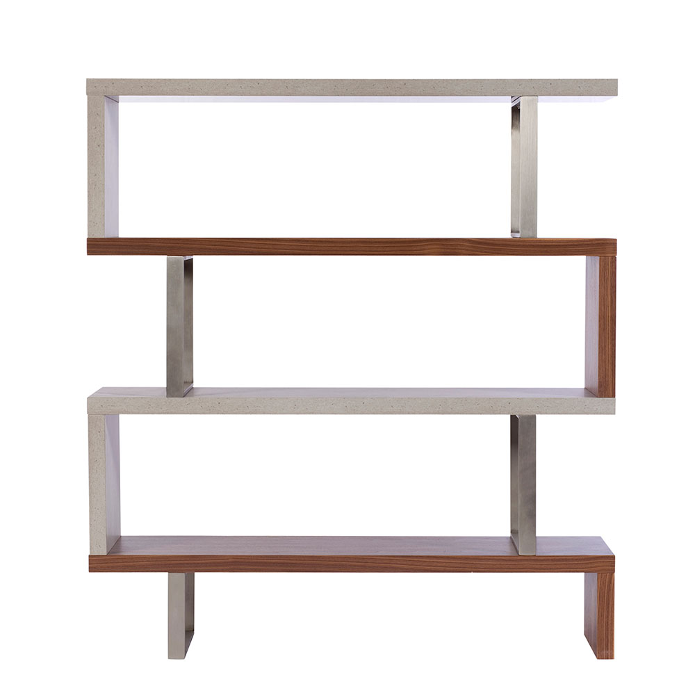 Portland Walnut & Concrete Bookcase