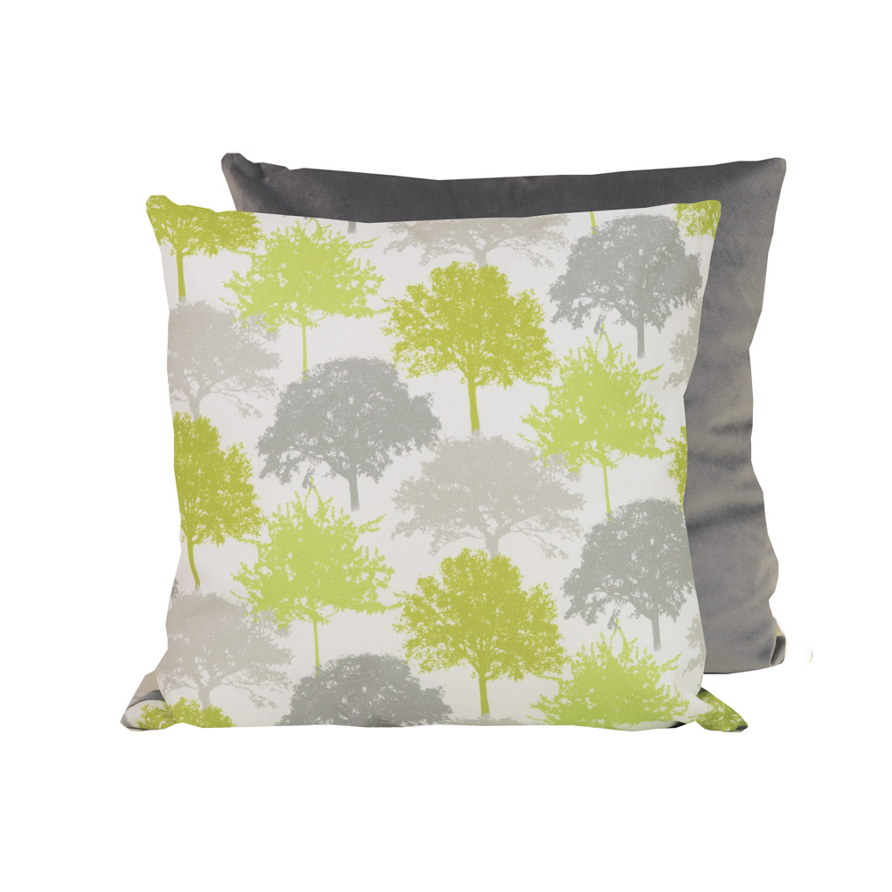 Tree Silhouettes Cushion Citron Grey