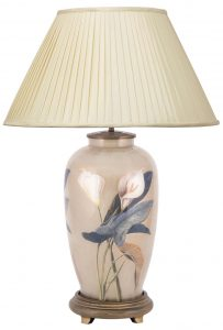 Jenny Worrell Arum Lily Tall Base With 50cm Silk Shade In Almond