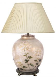 Jenny Worrell White Chrysanthemum Large Base With 50cm Silk Shade In Almond