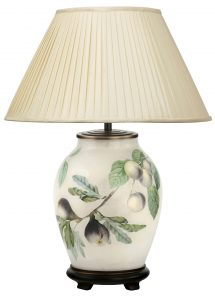 Jenny Worrell Figs & Plums Medium Base With 40cm Silk Shade In Almond