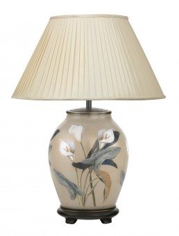 Jenny Worrell Arum Lily Medium Base With 40cm Silk Shade In Almond