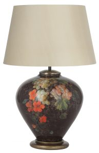 Jenny Worrell Fruit And Flowers Ginger Jar Base With 40cm Silk Shade In Almond
