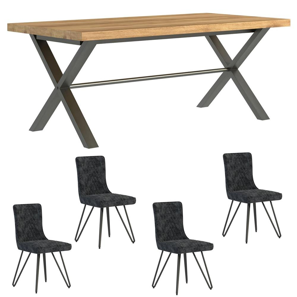 Fuji 190cm Dining Table & 4 Grey Fabric Dining Chairs