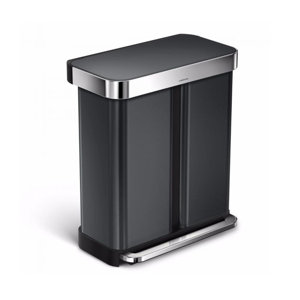 Simple Human Dual Black Stainless Steel Bin