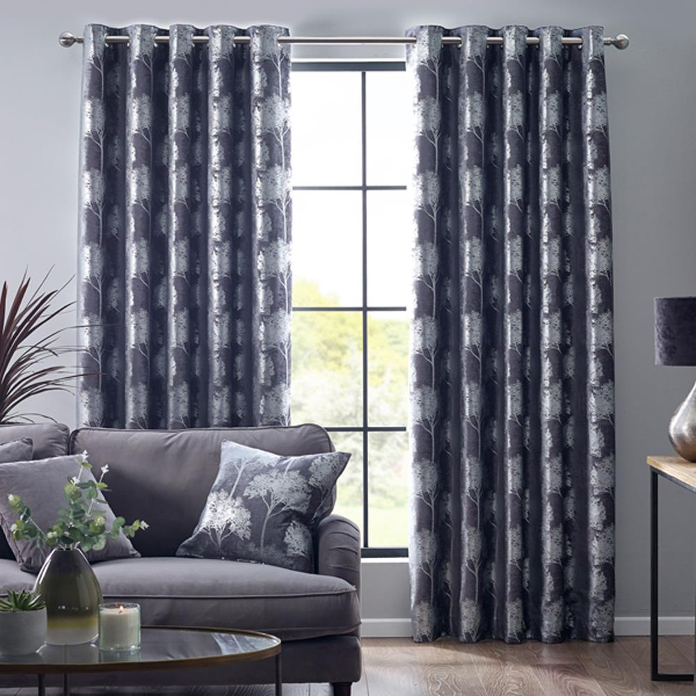Enchanted Forest Eyelet Headed Curtains Pewter