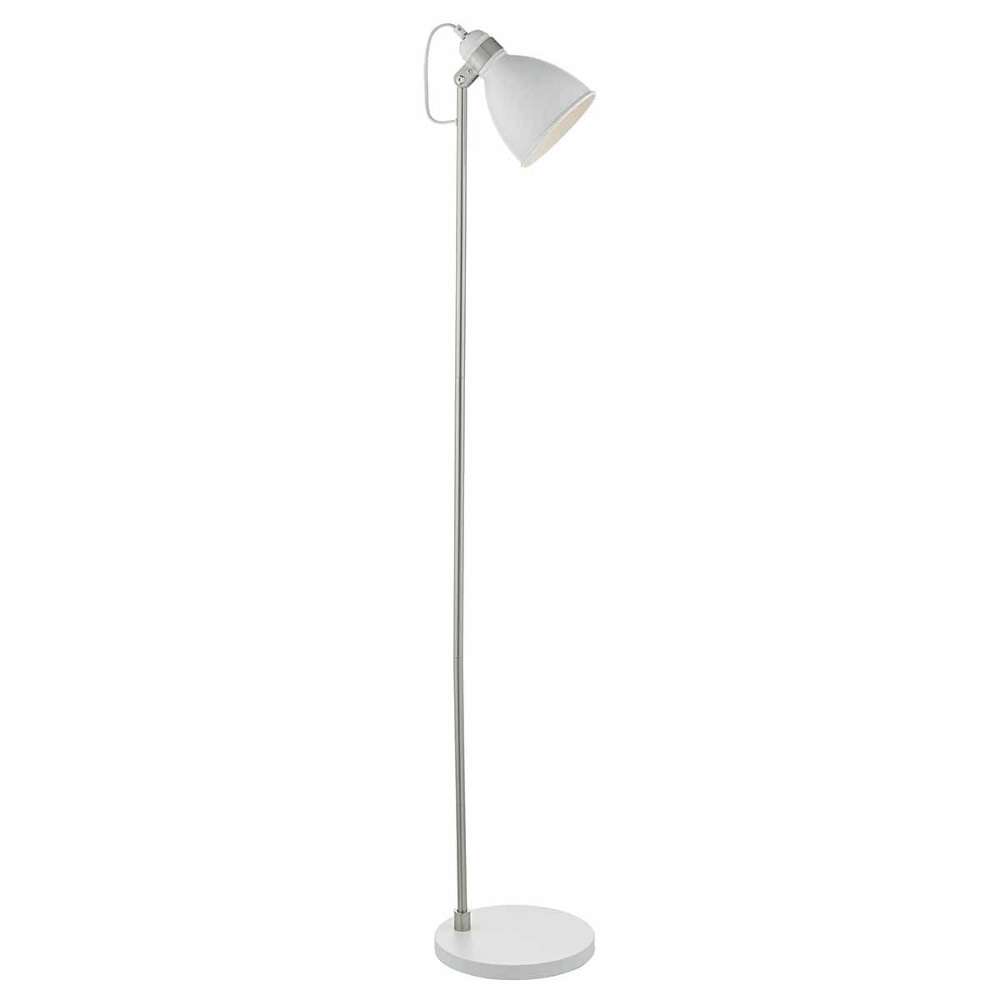 Frederick Floor Lamp In White And Chrome