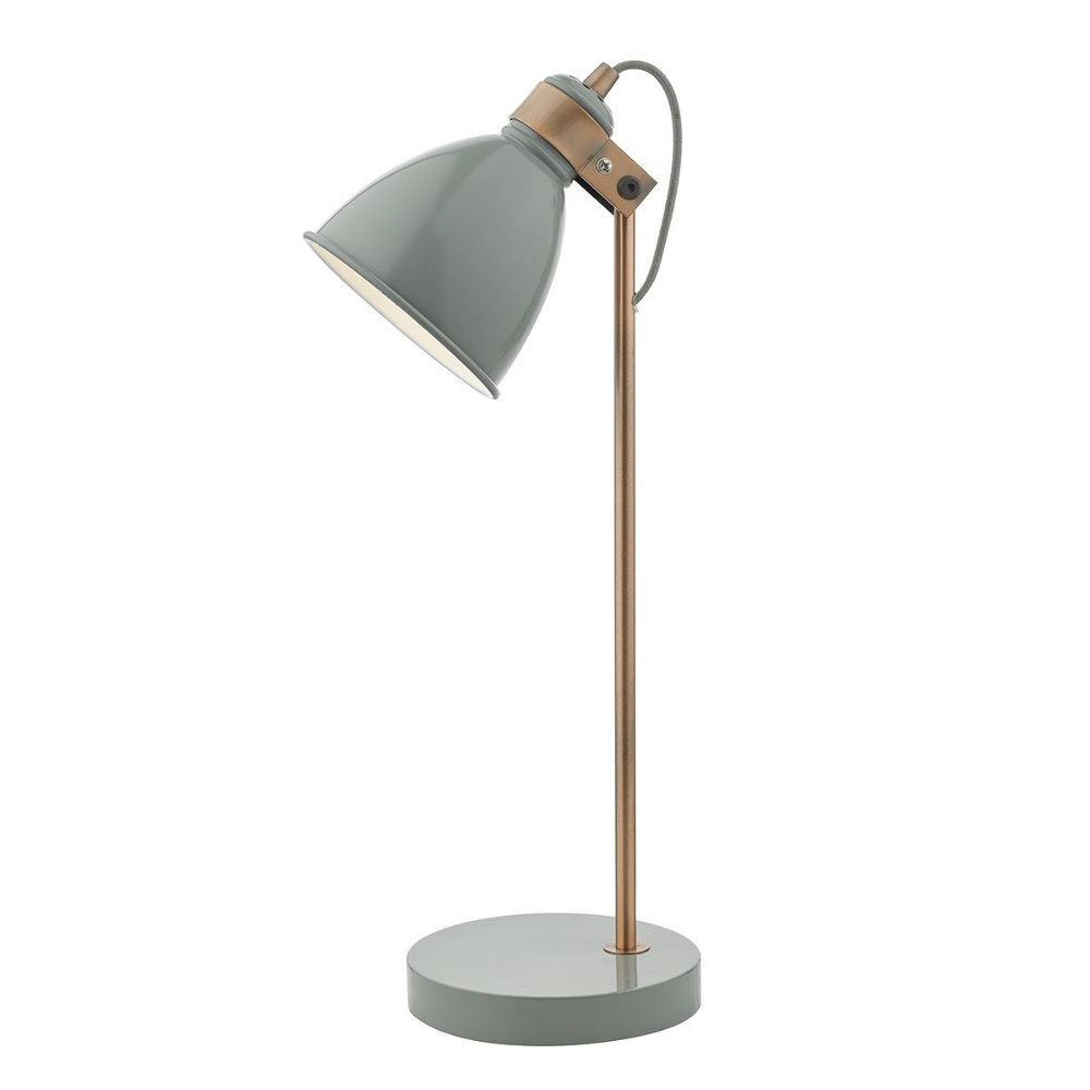 Frederick Table Lamp In Grey And Copper