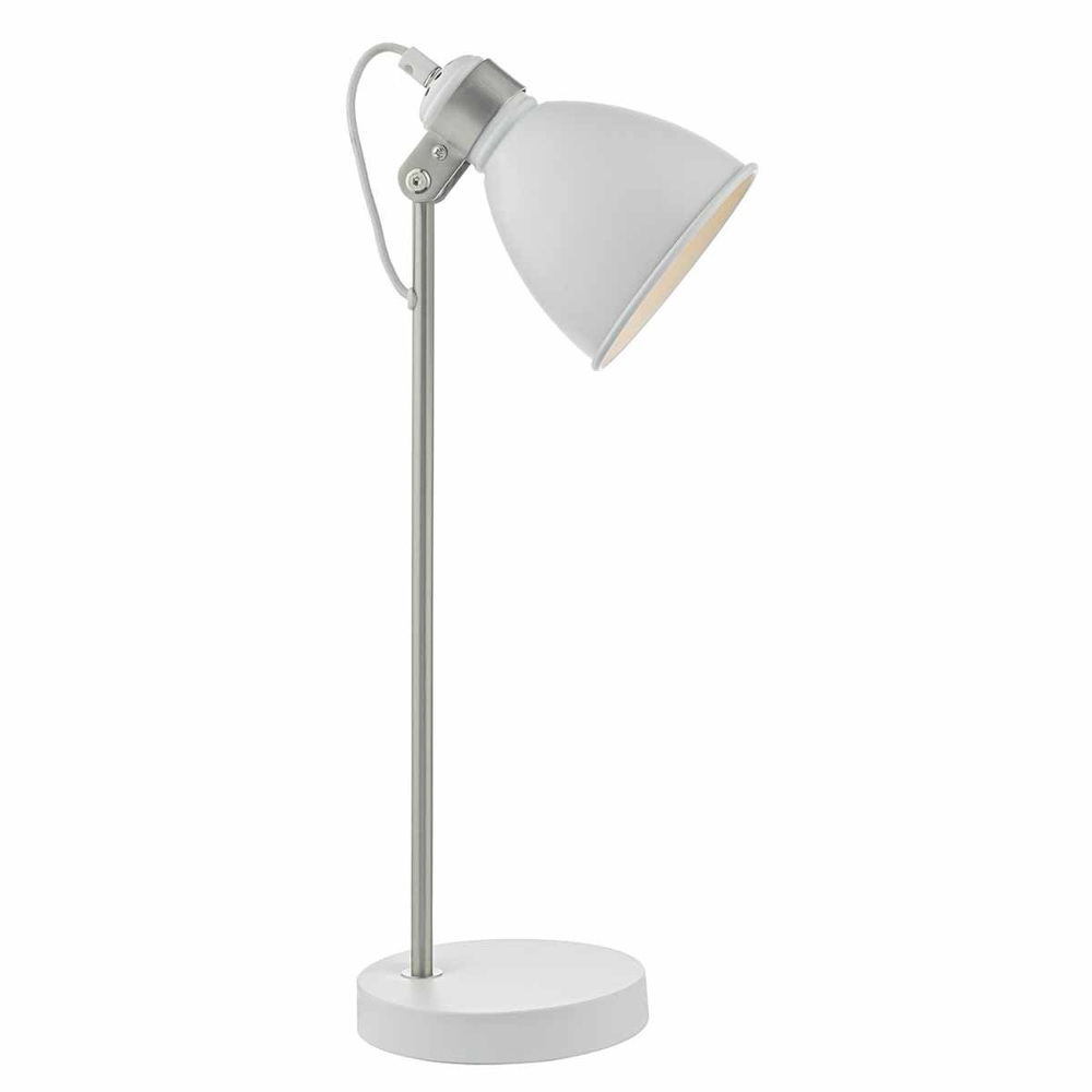 Frederick Table Lamp In White And Chrome