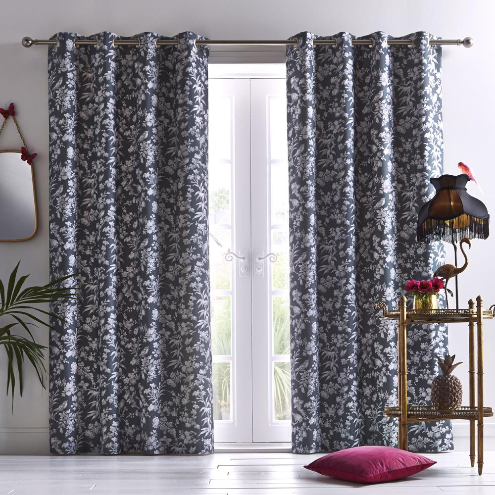 Amelia Eyelet Headed Curtains Charcoal