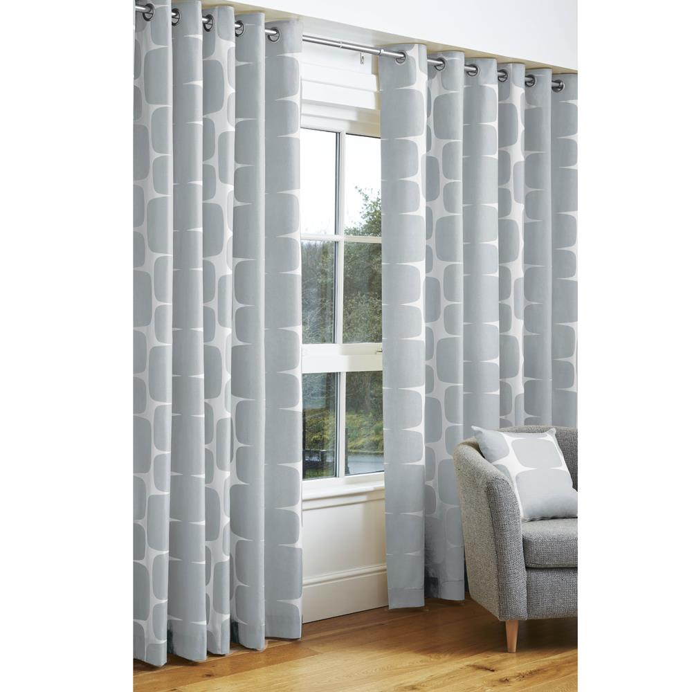Scion Lohko Eyelet Headed Curtains Silver