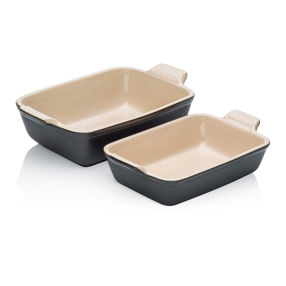 Le Creuset Rectangular Dish Twin Pack Satin Black