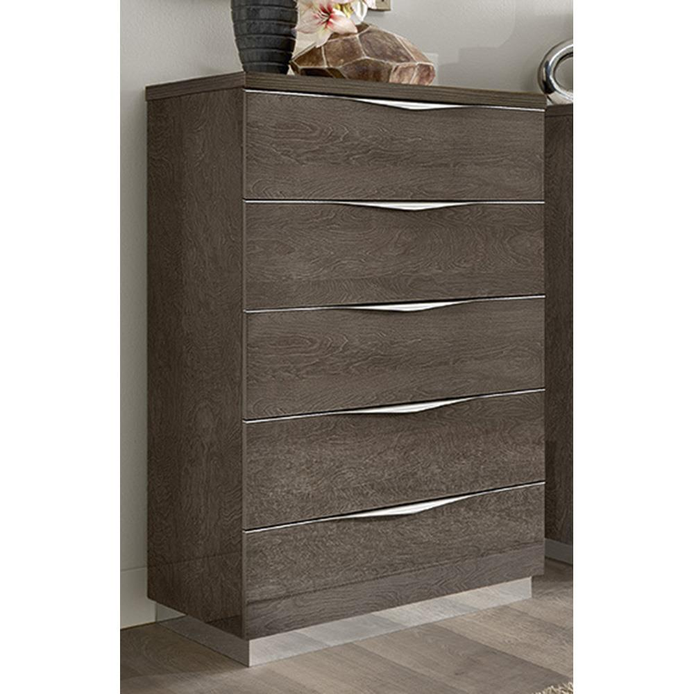 Havana 5 Drawer Tallboy Silver Grey