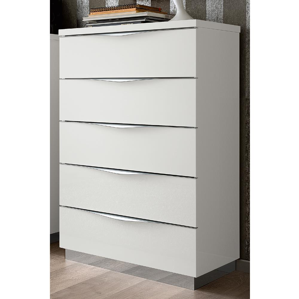 Havana 5 Drawer Tallboy White Gloss