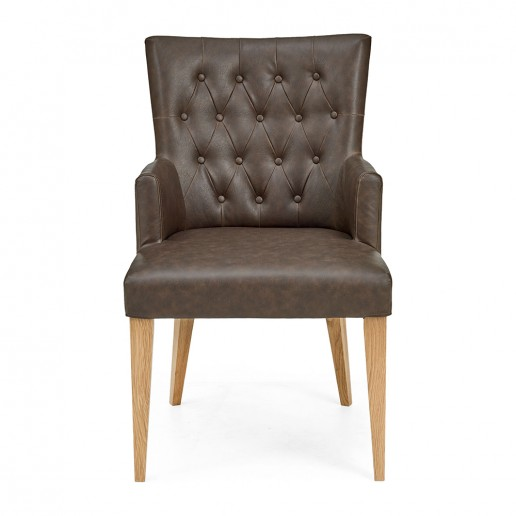 Hillingdon Oak Upholstered Arm Chair pair – Distressed Bonded Leather