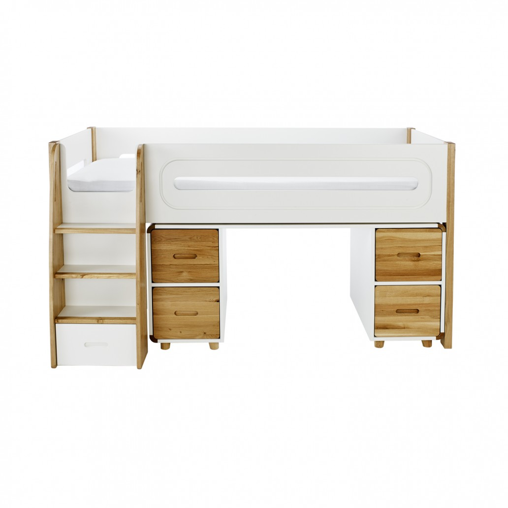 Stompa Curve Deluxe Midsleeper and Desk With 4 Doors