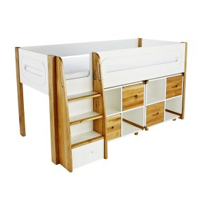 Stompa Curve Deluxe Midsleeper With 2 Cubes and 2 Door Pack Oak