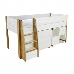 Stompa Curve Deluxe Midsleeper 3 Drawer Chest and Cube With Oak Doors