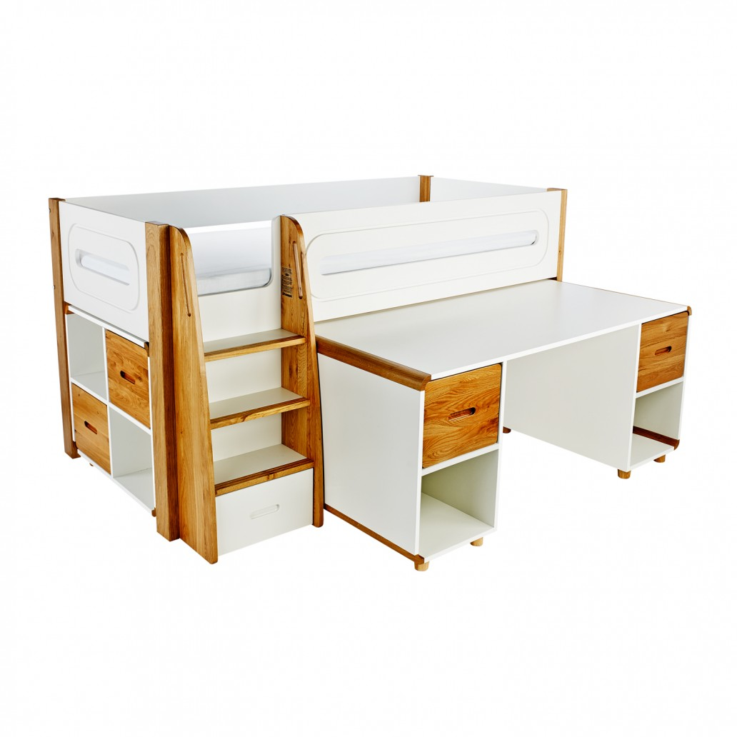 Stompa Curve Deluxe Midsleeper & Desk With 4 Doors Oak & Cube Unit
