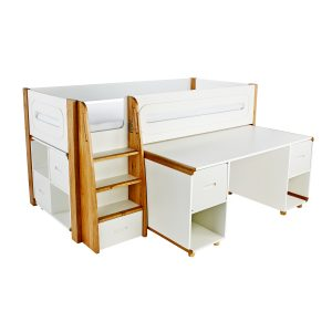 Stompa Curve Deluxe Midsleeper & Desk With 4 Doors White & Cube Unit