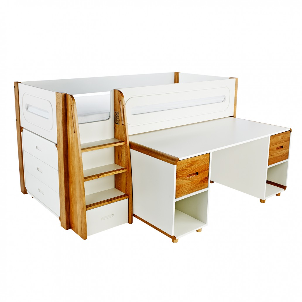 Stompa Curve Deluxe Midsleeper & Desk With 2 Oak Doors & 3 Drawer Chest