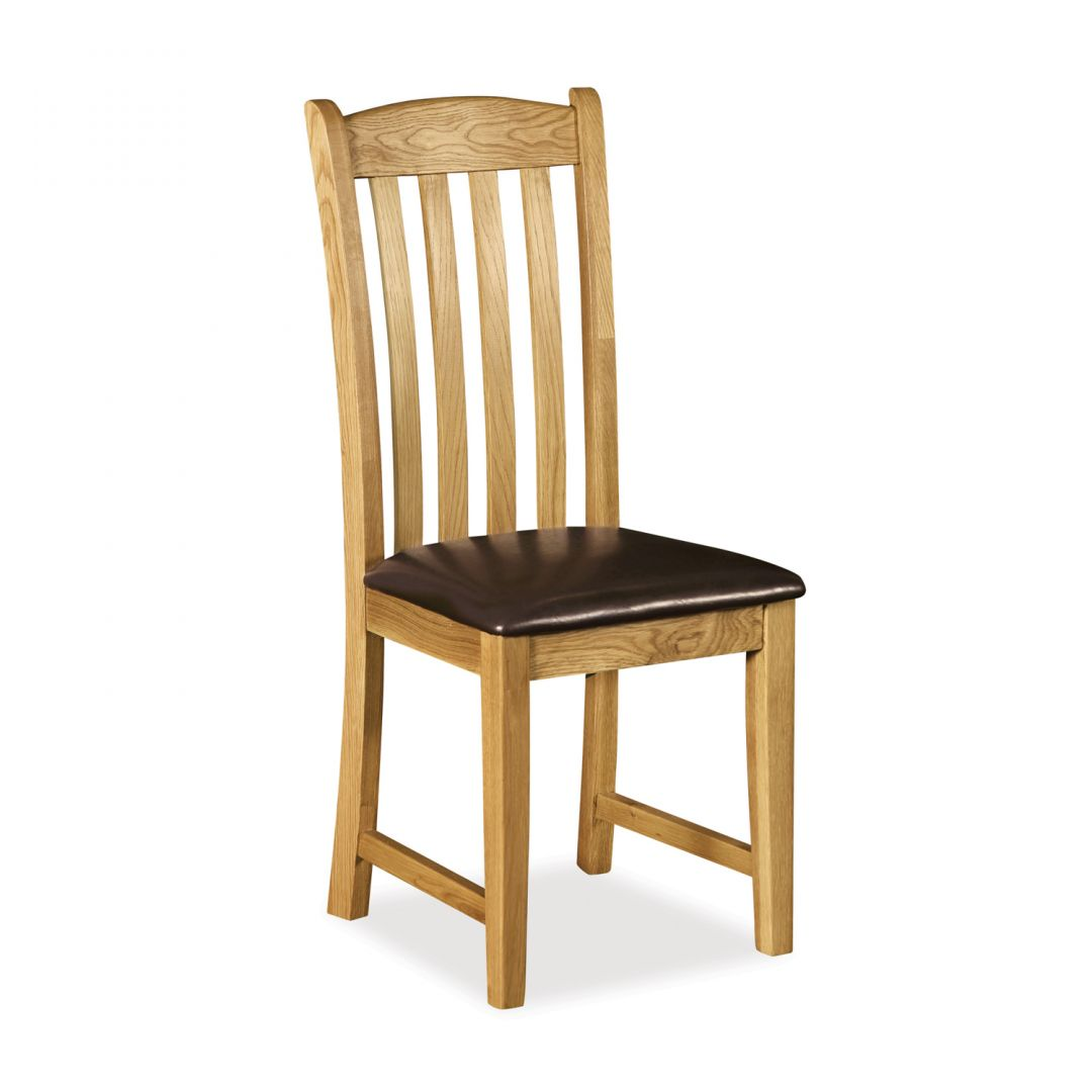 Rural Charm Dining Chair with Faux Leather Seat