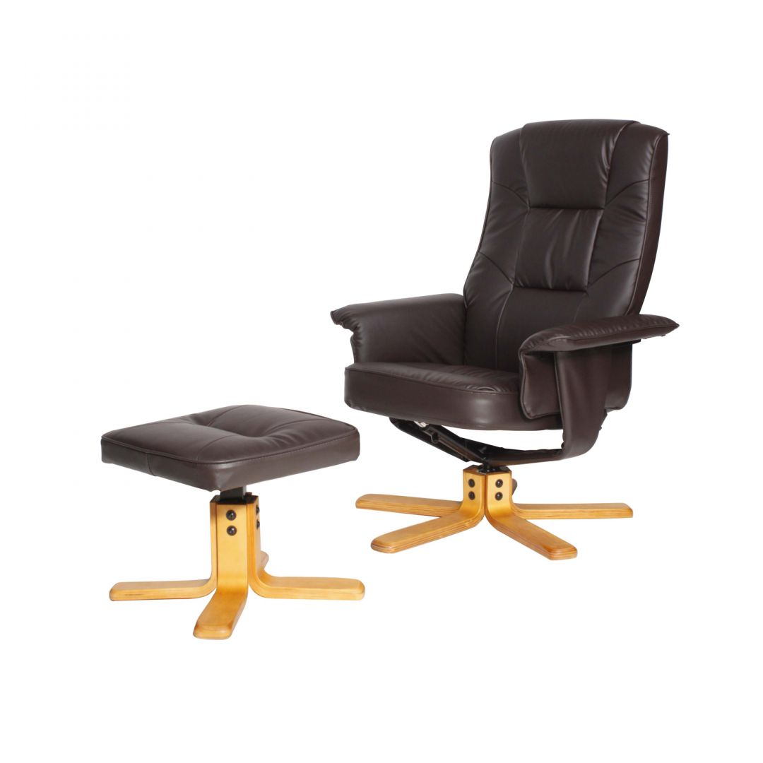 Drake Recliner With Footstool Brown