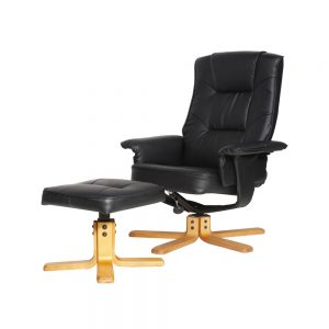 Drake Recliner With Footstool Black