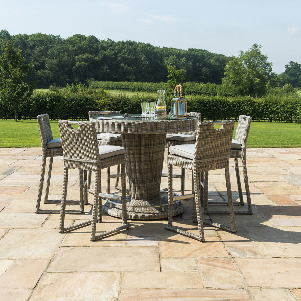 Oakham Round Bar Set With Ice Bucket & 6 Stools